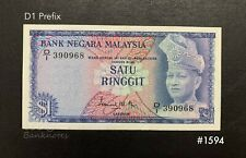 Malaysia - 1st $1 Prefix D1 | UNC with minor foxing