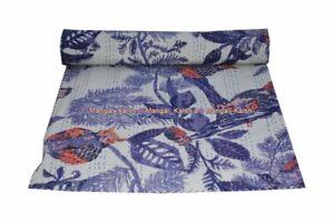 Kantha Boho Art Owl Ethnic Bedspread Cotton Indian Unique Throws Handmade Quilt