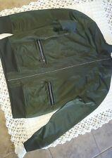 sean john jacket L- Large moss green full zip up polyester light weight blazer