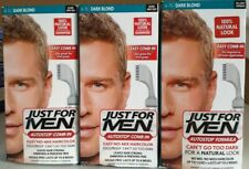 3 Pack JUST FOR MEN AutoStop Comb-In Hair color Dark Blond A-15 Blends Gray Away