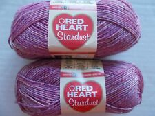 Red Heart Stardust sparkly wool blend sock yarn, Pink, lot of 2 (191 yds each)