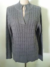 New Liz Claiborne 1X woman plus gray sweater medium cable knit all cotton size