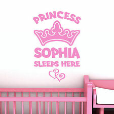 Personalised Princess Custom Name Wall Sticker With Crown and Hearts For Nursery