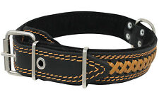 "Braided Studded Genuine Leather Dog Collar 17""-22"" neck  1.5"" wide"