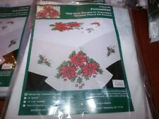 "Tobin Stamped Cross Stitch Embroidery Tablecloth POINSETTIAS 50"" x 70"""