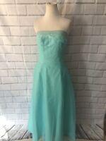 Mori Lee Aqua Mint Gown Sz 8 Bridesmaid Prom Pageant Beaded Strapless Dress
