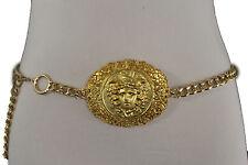 Women Hip Waist Fashion Belt Chunky Gold Metal Chains Medusa Head Buckle XS S M