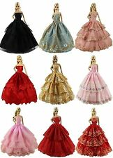 Lot 6Pcs Fashion Handmade Wedding Party Clothes Dress Gown for Barbie Doll New