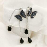 Jewelry Dangle Long Tassel Earrings Rhinestone Ear Stud Butterfly