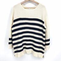 L NWT Charter Club Women's Navy Stripe Boat Neck 3/4 Sleeve Knit Sweater C070