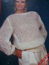 """Knitting Pattern Women Ladies Easy Knit Jumper Sweater DK 30-40"""" Vintage"""