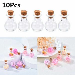 10x Mini Small Glass Vials With Cork Top Tiny Bottles Little Empty Jars Bottles