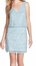 Xscape Petite Dress Sz 12P Light Blue Sheer Studded Sleeveless Cocktail dress