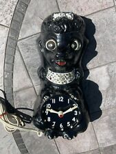 Vintage Retro Mid Century Poodle Dog ( kit cat ) Clock black jeweled No Reserve