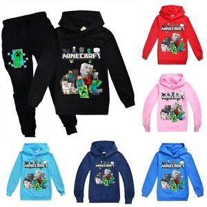 Minecraft Kids Hoodies Boys Girls Long Sleeve Hoodie Jumper Tops Age 2-12 Gifts