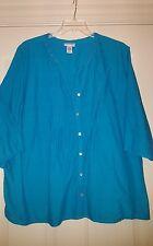 Catherines 3x (26/28) Turquoise Tunic 3/4 Sleeved