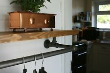 Industrial Clothes Rail with Scaffold Board Shelf for Bedroom  Many Sizes