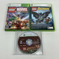 TESTED Lot XBOX 360 Marvel Super Heroes, Lego Batman, Lego Indiana Jones 3 Games