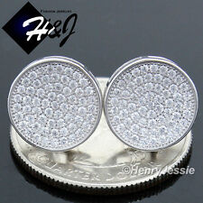 MEN 925 STERLING SILVER 12MM LAB DIAMOND ICED ROUND SCREW BACK STUD EARRING*E111