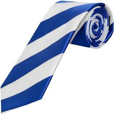 TIES R US Blue and White Striped Hand Made Classic Men's Football Tie