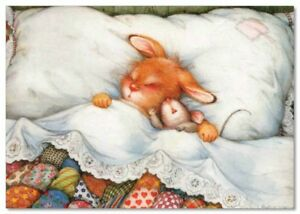 Lisi MARTIN~ BUNNY rabbit & MOUSE sleep in bed New Modern postcard