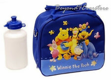 Royal Blue Winnie the Pooh Shoulder Strap Insulated Lunch Bag w Water Bottle