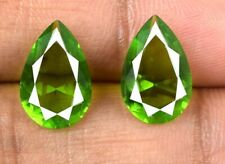 Pear Olive Green Peridot Loose Gemstone Pair 100% Natural 4.45 Ct AGSL Certified