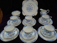 VINTAGE 50s anni'60 21 PEZZI TOSCANO BLUE & WHITE BONE CHINA tea service set