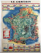 1949 Tour De France Le Comtois Vintage Bicycle Poster - Cycling