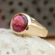 Checker Cut Pink Tourmaline Quartz Gemstone Silver Yellow Gold Unisex Gift Ring