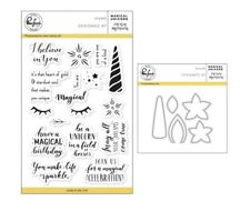 "Pinkfresh Studio ""MAGICAL UNICORN"" Photopolymer Clear Stamps and Dies Set"