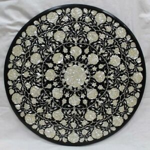 "42"" Black Marble Coffee Table Top Inlay Handicraft Work Home Decor"