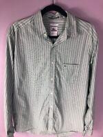 Lacoste Croc Mens Green Blue Stripes Long Sleeve Button Down Shirt Size 42 Large