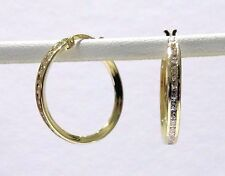 Channel Set Round CZ All Way Around Hoop Dangle 1.4 grm Earrings 14k Yellow Gold