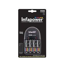 Infapower Casa cargador de batería con 4 X Aa 1300 Mah Recargable Baterías C001