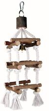Wooden Tower with Bell Budgie Canarie Bird Perch Swing on Rope 34cm 5886
