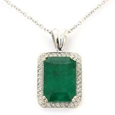 4.30CTW EMERALD CUT GREEN EMERALD & DIAMONDS PENDANT WITH GALLERY PE594