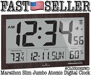 Marathon Slim Jumbo Atomic Digital Wall Clock, Walnut Wood Tone - NEW IN BOX!