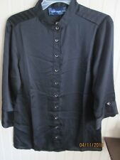 SUSAN GRAVER LADIES CAREER BLOUSE SIZE XS BLACK NWT