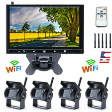 """9"""" HD Monitor + Wireless 4x Rear View Backup Camera Night Vision For RV Truck"""