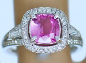 Art Deco Natural Rich Pink Cushion Cut Sapphire Diamonds Vintage Jewellery