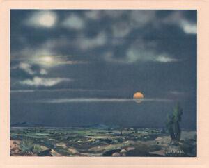 Oscar Strobel - 1946 - Desert Night Arizona Prints Western Theme Cactus Night