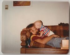 Vintage 70s PHOTO Affectionate Dad Playing w/ Baby On Couch