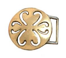 Vtg Brass Round Belt Buckle Art Swirl Cut Out Women's Clover Western Leaf Solid