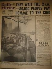 Daily Mirror Newspaper-The people pay Homage King George VI-Feb 13th 1952.
