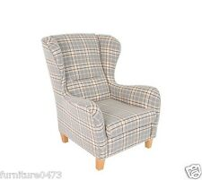 Beige Or Silver Printed Fabric Material Fireside Armchair