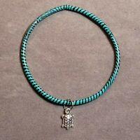 Stock# 170 - Recycled Rubber Black Blue Stripe Bangle Turtle Charm Bracelet