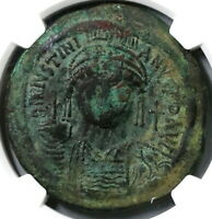 540 Justinian I Byzantine Dated Follis Constantinople Mint NGC VF (19081201C)