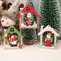 Wood Christmas Elk Deer Ornaments Xmas Tree Hanging Decoration Pendant Gifts