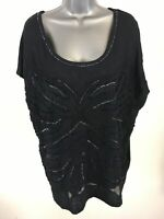 WOMENS MONSOON NAVY BEADED RUFFLED SHORT SLEEVE BLOUSE TOP SIZE LARGE